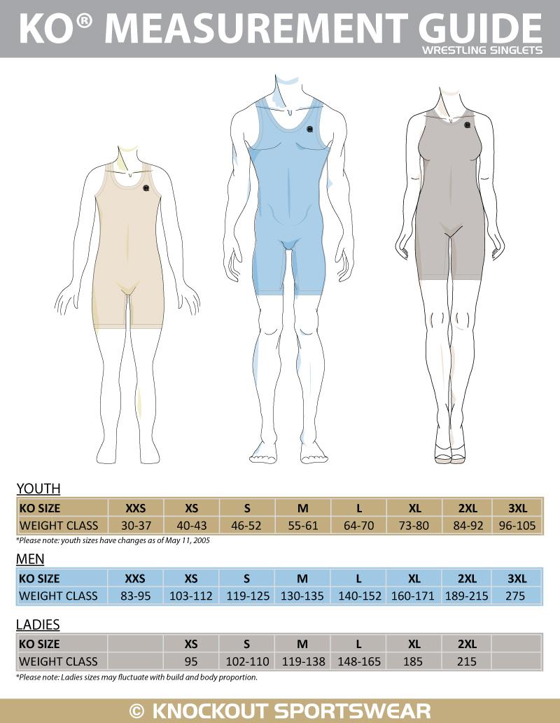 Wrestling Singlet Size Chart - Knockout Sportswear